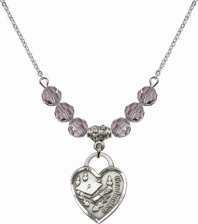 Graduation Heart June Lt Amethyst 4mm Swarovski Crystal Necklace by Bliss Mfg