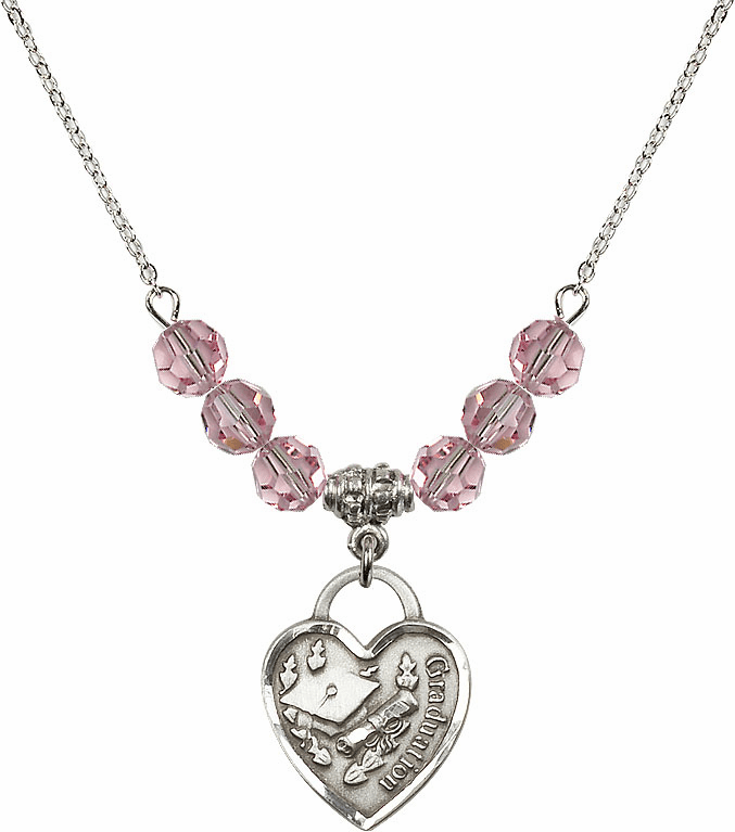 Graduation Heart Lt Rose 4mm Swarovski Crystal Necklace by Bliss Mfg