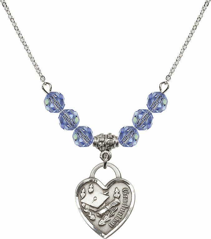 Graduation Heart Lt Sapphire 4mm Swarovski Crystal Necklace by Bliss Mfg