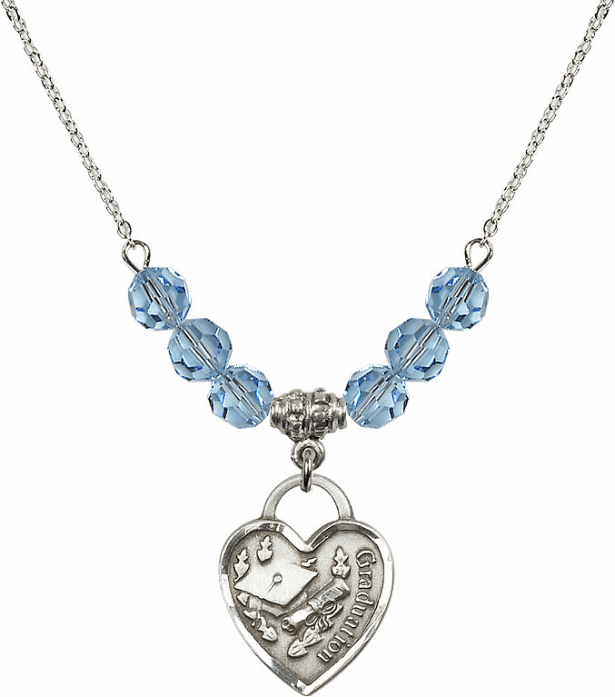 Graduation Heart March Aqua 4mm Swarovski Crystal March Aqua Necklace by Bliss Mfg