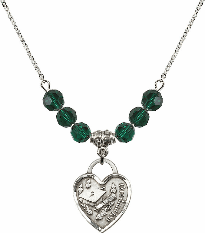 Graduation Heart May Emerald 4mm Swarovski Crystal Necklace by Bliss Mfg