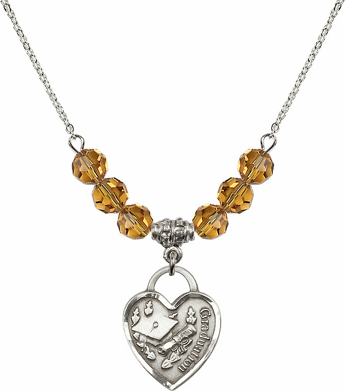 Graduation Heart November Topaz 4mm Swarovski Crystal Necklace by Bliss Mfg