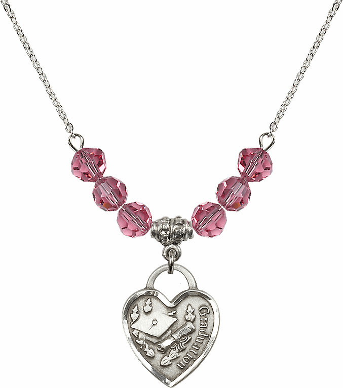 Graduation Heart October Rose 4mm Swarovski Crystal Necklace by Bliss Mfg