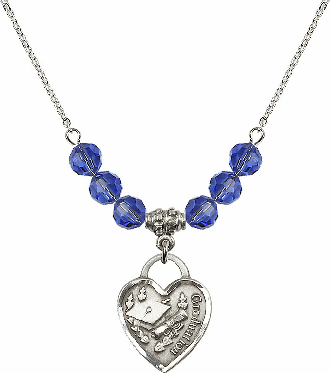 Graduation Heart September Sapphire 4mm Swarovski Crystal Necklace by Bliss Mfg