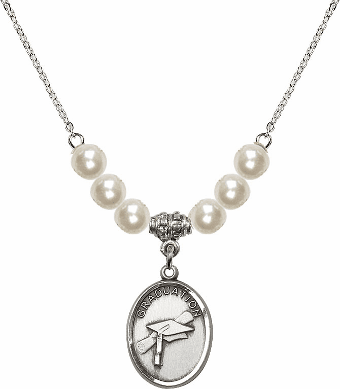 Graduation Oval 6mm Faux Pearlsl Necklace by Bliss Mfg