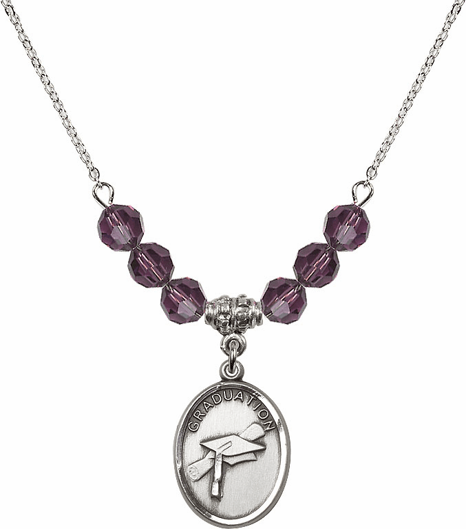 Graduation Oval February Amethyst 4mm Swarovski Crystal Necklace by Bliss Mfg