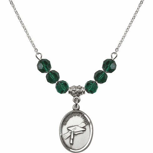 Graduation Oval May Emerald 6mm Swarovski Crystal Necklace by Bliss Mfg