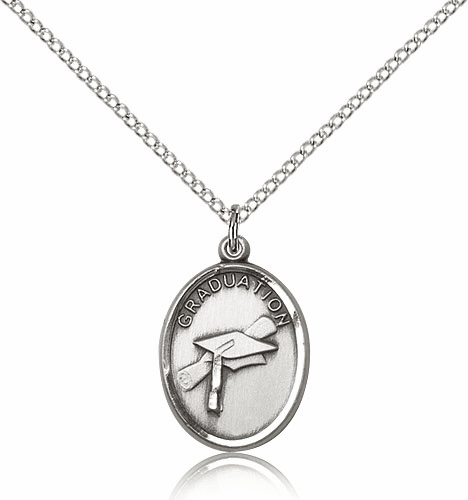 Graduation Oval Sterling Silver Pendant w/SS Chain by Bliss Manufacturing