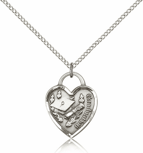 Graduation Sterling Silver Heart with Hat And Diploma Medal Necklace by Bliss