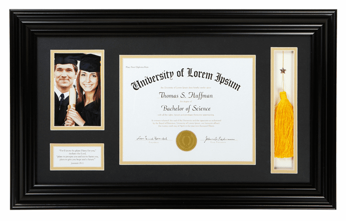 Graduation Thoreau Black Photo Frame w/Tassel Holder