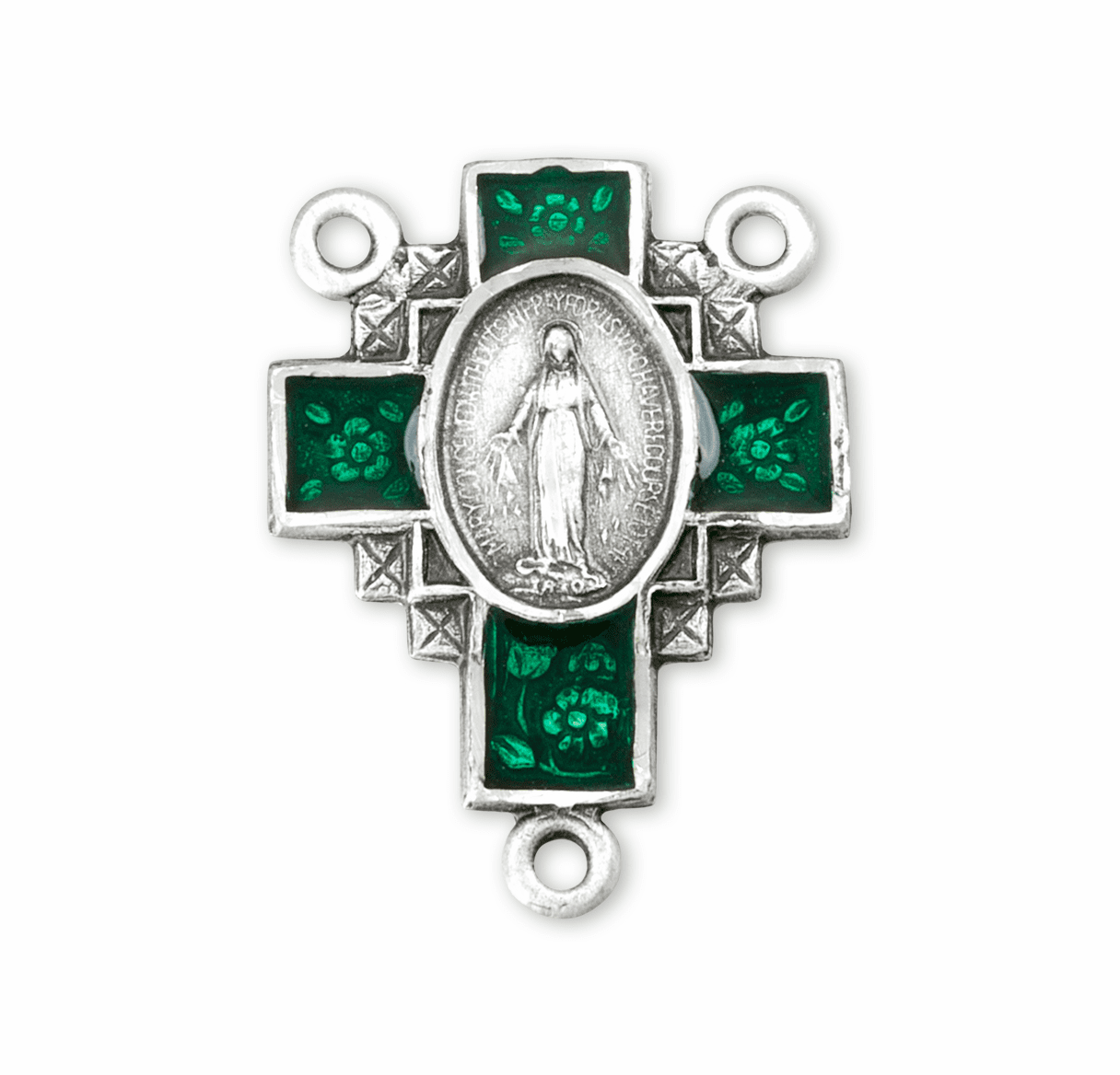 Green Cross Miraculous Medal Sterling Silver Centerpiece Rosary Part by HMH Religious