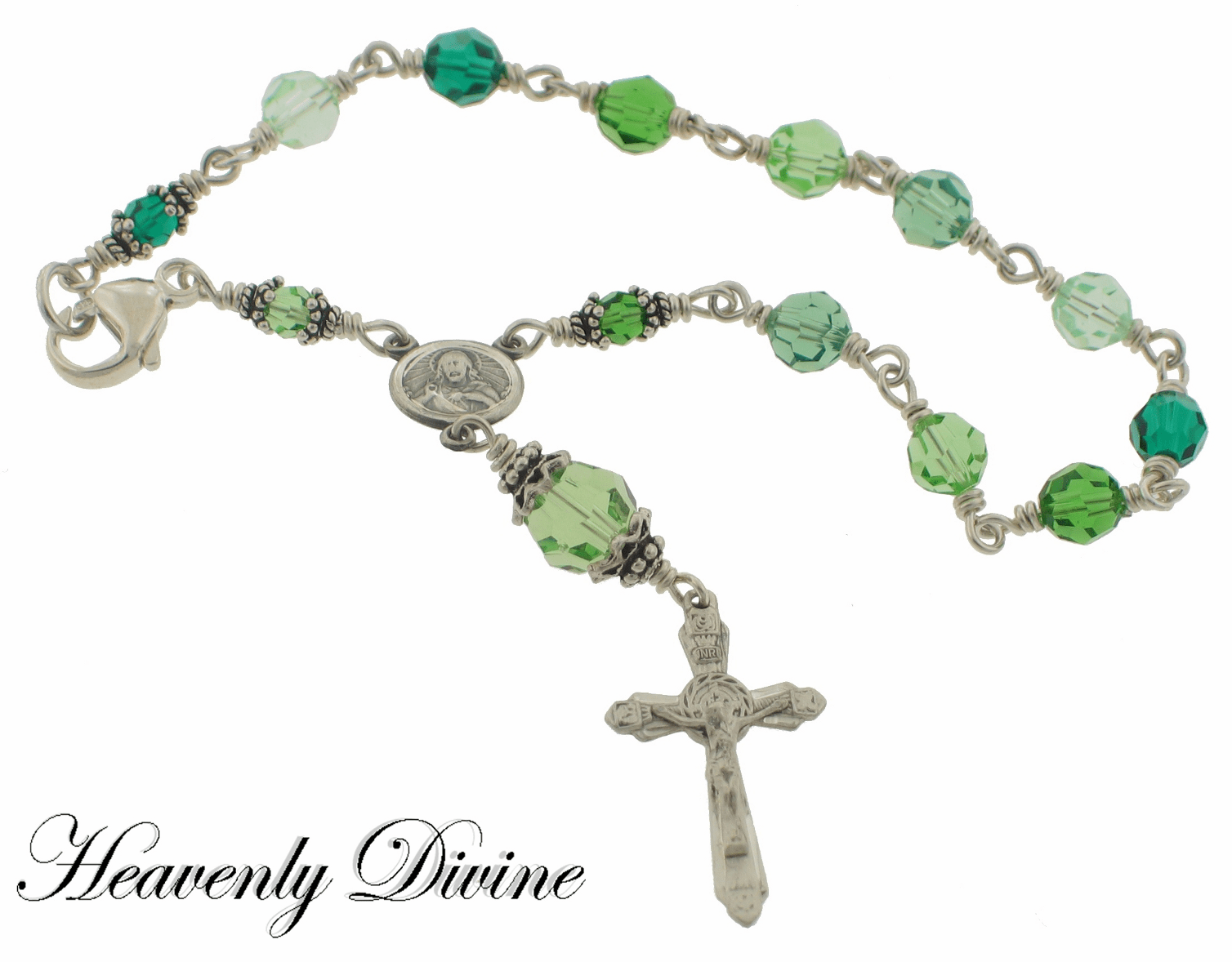 Green Swarovski Crystal Sterling Silver Rosary Bracelet by Heavenly Divine