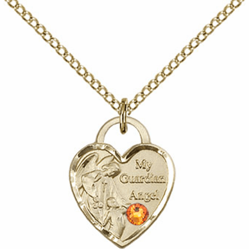 Guardian Angel 14kt Gold-filled Heart Shape November Topaz Birthstone Necklace