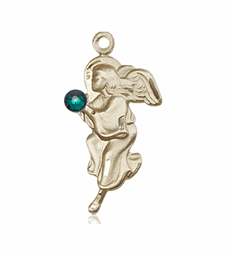 Guardian Angel 14kt Gold May Emerald Birthstone Pendant Necklace by Bliss