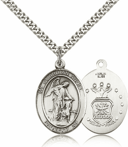 Guardian Angel Air Force Sterling Oval Saint Pendant Medal by Bliss