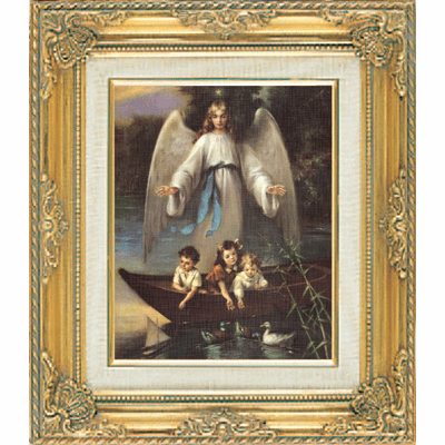 Guardian Angel and Children under Glass w/Gold Framed Picture by Cromo N B
