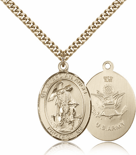 Guardian Angel Army Gold-Filled Oval Saint Pendant Medal by Bliss
