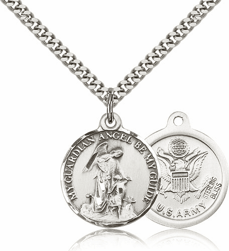 Guardian Angel Army Pewter Pendant Necklace by Bliss