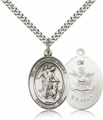 Guardian Angel Army Sterling Oval Saint Pendant Medal by Bliss