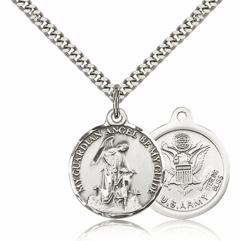 Guardian Angel Army Sterling Silver Pendant Necklace by Bliss