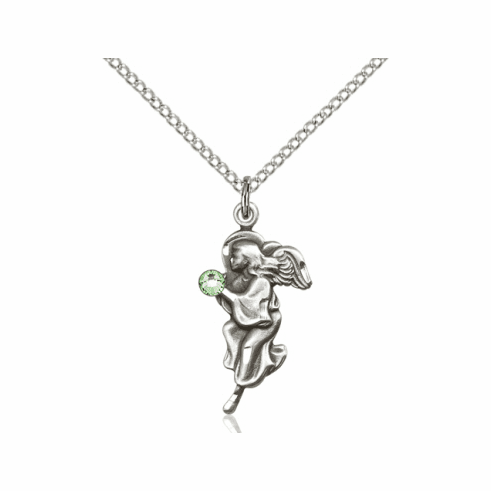 Guardian Angel August Peridot Birthstone Pendant Necklace by Bliss