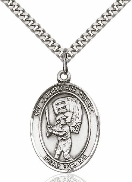 Guardian Angel Baseball Sports Sterling Silver Pendant Necklace by Bliss Mfg