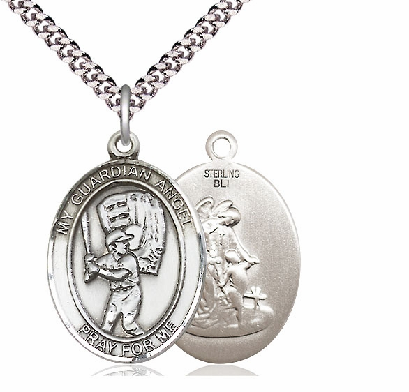 Guardian Angel Baseball Sports Sterling Pendant Necklace by Bliss Mfg