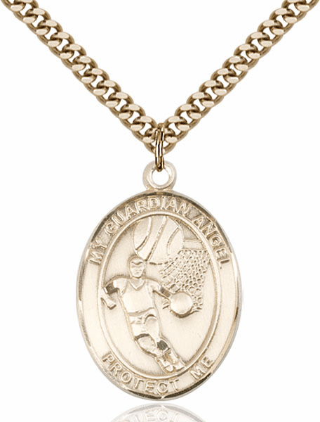 Guardian Angel Basketball Sports 14kt Gold-Filled Pendant Necklace by Bliss