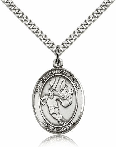 Guardian Angel Basketball Sports Sterling Silver Pendant Necklace by Bliss