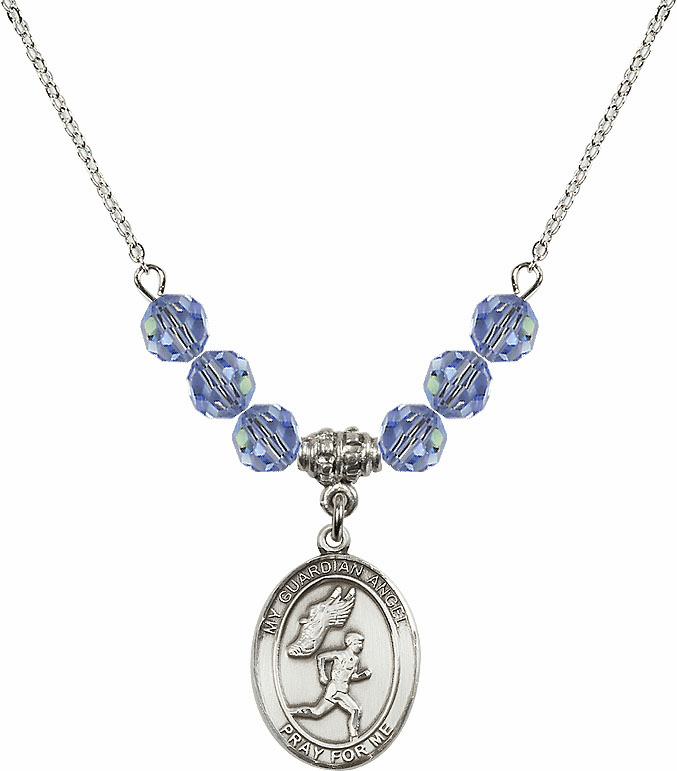 Guardian Angel Boy's Track and Field Sterling Sapphire Swarovski Crystal Beaded Necklace by Bliss Mfg