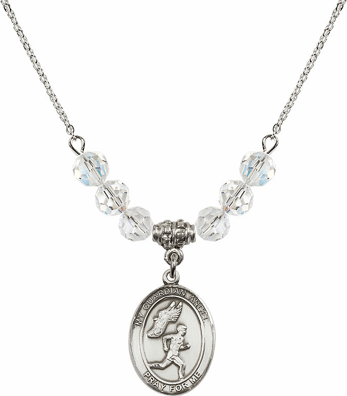 Guardian Angel Boy's Track and Field April Swarovski Crystal Beaded Necklace by Bliss Mfg