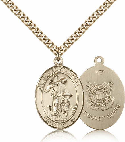 Guardian Angel Coast Guard Gold-Filled Oval Saint Pendant Medal by Bliss