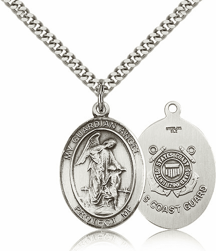 Guardian Angel Coast Guard Sterling Oval Saint Pendant Medal by Bliss