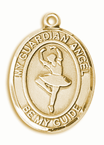 Guardian Angel Dance 14kt Gold Sports Medal Pendant by Bliss