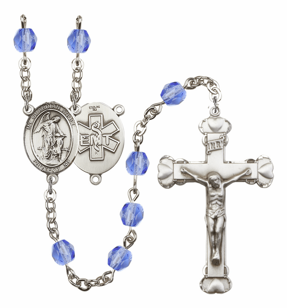 Guardian Angel EMT Birthstone Crystal Rosary by Bliss