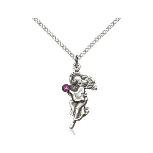 Guardian Angel February Amethyst Birthstone Pendant Necklace by Bliss