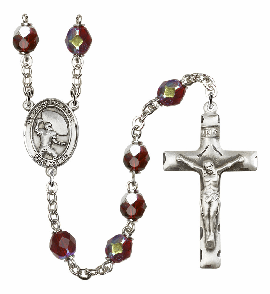 Guardian Angel Football 7mm Lock Link AB Garnet Rosary by Bliss Mfg