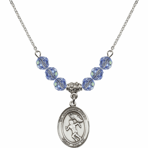 Guardian Angel Girl's Track and Field Sterling Sapphire Swarovski Crystal Beaded Necklace by Bliss Mfg
