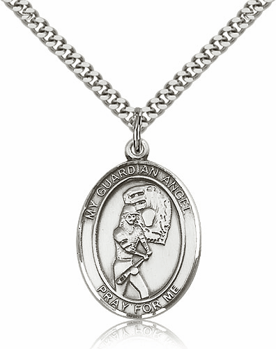 Guardian Angel Girls Softball Sterling Silver Sports Necklace