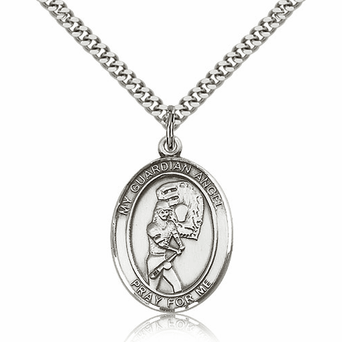 Bliss Guardian Angel Girls Softball Sterling Silver Sports Necklace