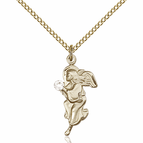 Guardian Angel Gold-filled April Crystal Birthstone Pendant Necklace by Bliss