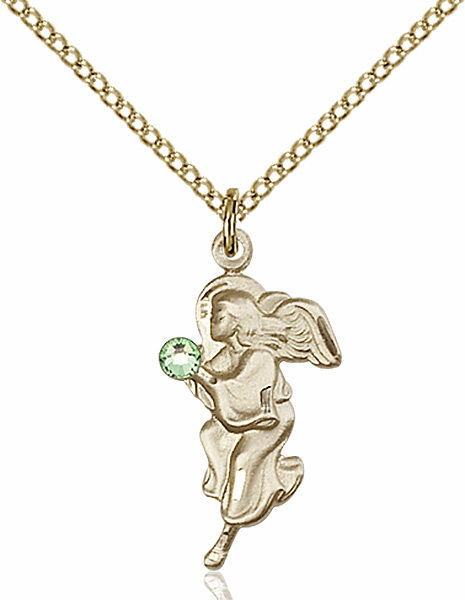 Guardian Angel Gold-filled August Peridot Birthstone Pendant Necklace by Bliss
