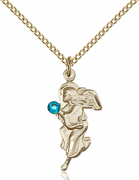 Guardian Angel Gold-filled December Zircon Birthstone Pendant Necklace by Bliss