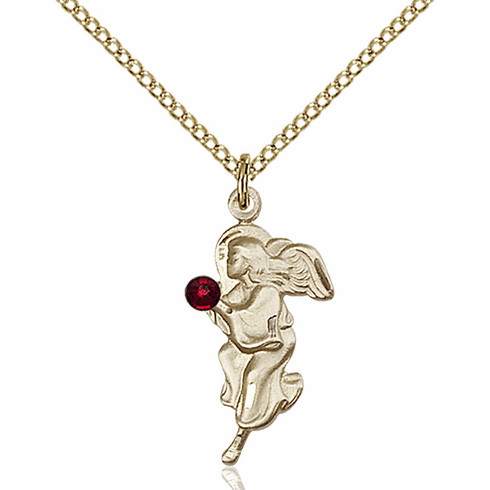 Guardian Angel Gold-filled January Garnet Birthstone Pendant Necklace by Bliss