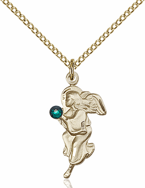 Guardian Angel Gold-filled May Emerald Birthstone Pendant Necklace by Bliss