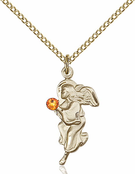 Guardian Angel Gold-filled November Topaz Birthstone Pendant Necklace by Bliss