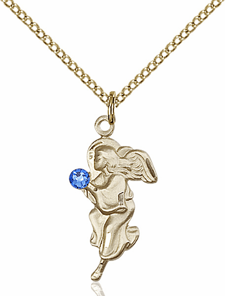 Guardian Angel Gold-filled September Sapphire Birthstone Pendant Necklace by Bliss