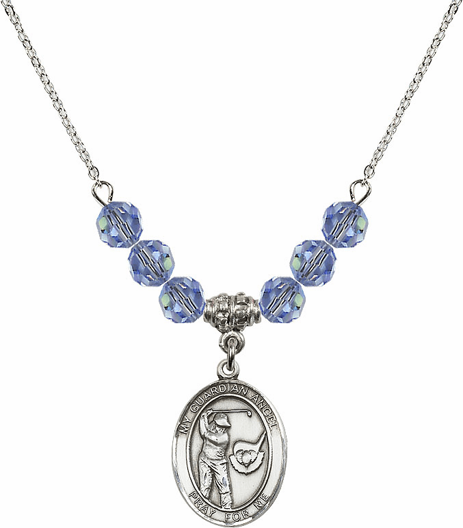 Guardian Angel Golf Sterling Sapphire Swarovski Crystal Beaded Necklace by Bliss Mfg