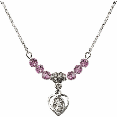 Guardian Angel Heart Charm with 6 Crystal Bead Necklace by Bliss Mfg