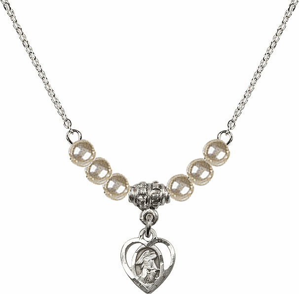 Guardian Angel Heart Charm with 6 Faux Pearl Bead Necklace by Bliss Mfg
